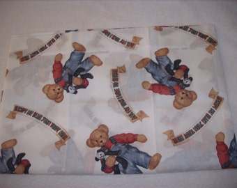Blue Jean Teddy travel pillowcase