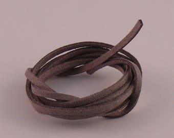 Gray 3mm suede cord x 1.5 mm