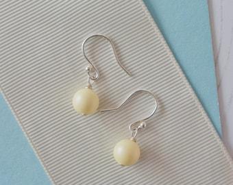 Yellow Drop Earrings, Yellow Bridesmaid Earrings, Yellow Pearl Earrings, Yellow Earrings, Yellow Wedding, Yellow Bridesmaid Jewellery,