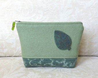 Spring Green Leaf Zip Pouch, Eco Friendly, Upcycled Felted Wool Clutch in Green