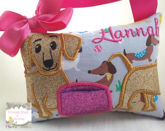 Tooth fairy pillow Girls, Boys tooth fairy pillow. Dog design tooth fairy