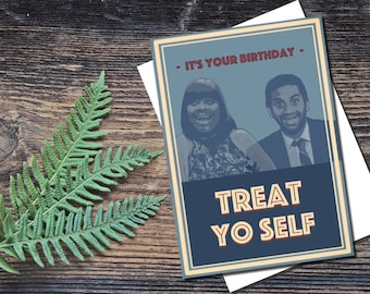 Parks and Recreation birthday card, Treat yoself birthday card, Parks and rec, Funny birthday card, printable card, INSTANT DOWNLOAD