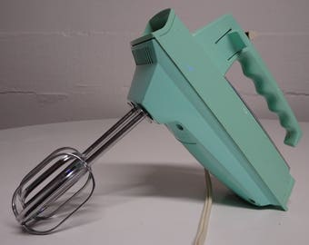 1950's, 60's Sunbeam Electric Turquoise Electric Hand Mixer - FREE SHIPPING