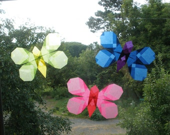Trio of Butterflies in Blue Pink and Green - Waldorf Sun Catchers like Translucent Window Stars