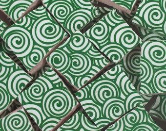 Ceramic Mosaic Tiles - Green Swirls Mosaic Tile Pieces - 40 Pieces Mosaic Art / Mixed Media Art/Jewelry