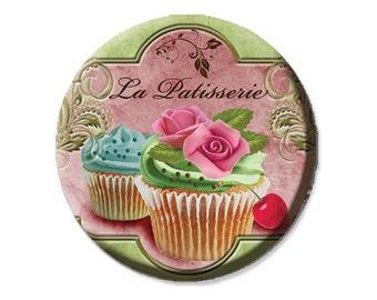"LIQUIDATION SALE! Cupcakes La Patisserie Magnet or Pinback  - 2.25"""