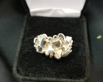 10k Rounded White Gold Nugget Ring