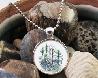Woodland Necklace, Watercolor Necklace, Tree Pendant, Tree Necklace, Forest Necklace, Woodland Jewelry, Watercolor Jewelry, Nature Necklace
