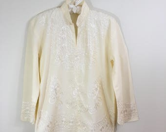 70s Cream Embroidered Hippie Long Sleeve Tunic Blouse, Size XS to Small