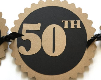 50th Birthday Banner - Happy 50th Birthday - Kraft Brown, Black or Your Colors