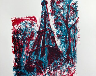 Eiffel Tower screenprint in red, white and blue