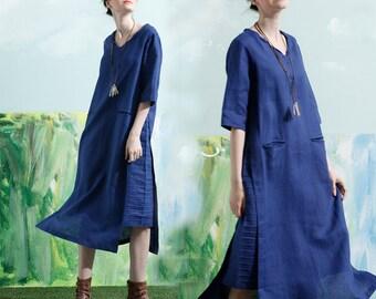 Linen Dress In Blue, Shirt Dress, Knee Length Dress, Long Linen Dress, Tunic Dress, Shift Dress, Blue Dress, Blue Dress, Beach