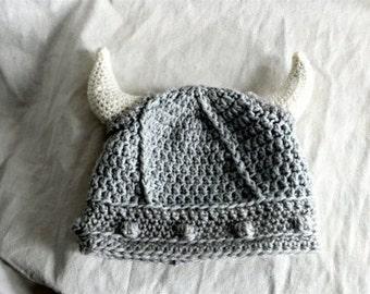 Viking hat, crochet viking hat, viking helmet, baby viking hat,  grey horned hat,pagan hat, hat with horns, photo prop, crochet baby hat