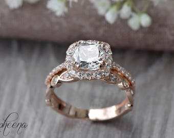 Set of 2:Cushion Engagement Ring and Art Deco Band in 14k Rose Gold,Moissanite Bridal Set,Bridal Set,Sapphire Rings,Wedding Ring by Sapheena