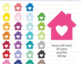 Home with Heart Icon Digital Clipart in Rainbow Colors - Instant download PNG files - House of Love, House with Heart, New Home