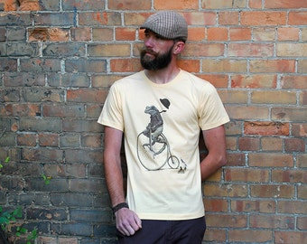 Frog on Bike T-shirt - Men's Penny Farthing shirt - Animal Tshirt -  Antique Bike - Bicycle Shirt - Animal Shirt