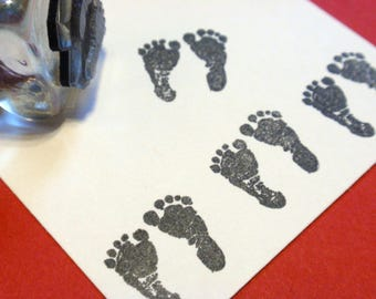 Baby Feet Rubber Stamp // Baby Footprint Rubber Stamp -  Handmade rubber stamp by BlossomStamps