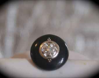 Vintage Button on Adjustable Ring Base