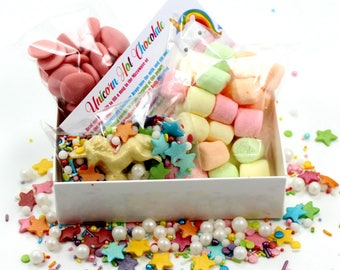 Unicorn Hot Chocolate Kit - Unicorn Lover - Foodie Gift - Unicorn Party Favour - Strawberry Chocolate - Birthday Gift - Novelty Chocolate