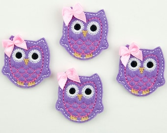 OWL - Embroidered Felt Embellishments / Appliques - Purple, Hot Pink & White  (Qnty of 4) SCF6590