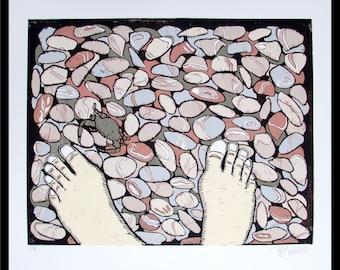 linocut, barefoot, beach pebbles, beach, bare feet, natural colors, pastels, nature print, printmaking, modern art, crab, seaside, ocean
