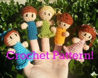 "EMAILED PDF for European Buyers: Amigurumi Finger Puppet PDF Crochet Pattern ""Little Finger Friends"""