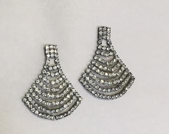 80s fantail chandelier earrings, 80s rhinestone earrings, pageant earrings, wedding earrings