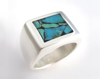 Mens Heavy Silver Ring set with Rare Turquoise Mosaic