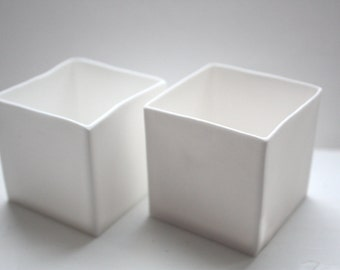 Small snow white cube made from English fine bone china - geometric decor