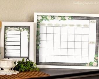 Weekly Menu Planner - Monthly Calendar - Printable Menu Planner - Printable Calendar - 2018 Calendar - Dry Erase Calendar - Meal Planning