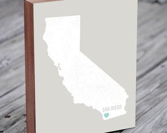 San Diego Art - San Diego Map - San Diego Wall Art - San Diego Print - Wood Block Art Print