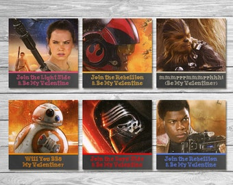 Star Wars Force Awakens Valentine's Day Cards Chalkboard / Star Wars Valentine's Day Party / Star Wars Favors / Star Wars School Valentines