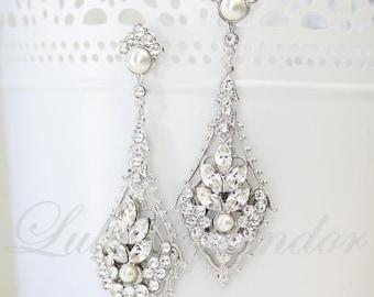 Chandelier Wedding Earrings Vintage Art Deco Bridal Earrings Pearl Crystal Bridal Wedding Jewelry URSULA