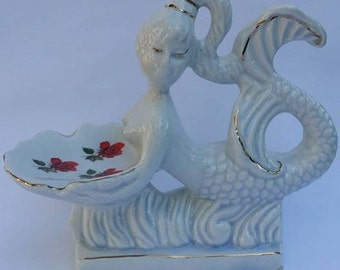 Vintage MERMAID BATHING BEAUTY dish soap Ceramic Figurine