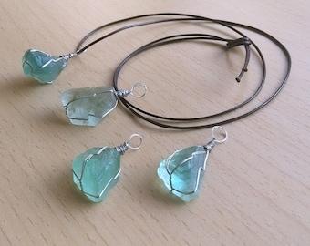 Raw Rough Natural Green Fluorite Pendant Fluorite Necklace Healing Crystal
