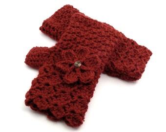 Paprika Crochet Fingerless Gloves with Flower, Brick Texting Gloves, Rust Red Wristwarmers, GL110-01