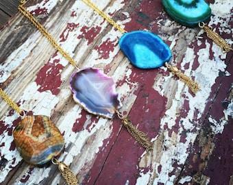 Orange, pink, blue, or green agate gold tassel long necklace