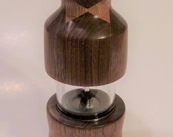 Walnut and Oak Handturned Pepper Mill or Salt Mill