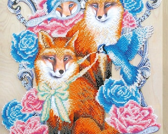 Bead embroidery kit, Two smart foxes, needlepoint kits, DIY, beadwork decoration, embroidery wall art, embroidery craft