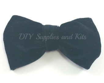 "4"" Dark Navy velvet bow, Fabric bows, Navy bows, Headband bow, Bow supply, Holiday bows, Baby girl bows, Photo Prop, Christmas bow"