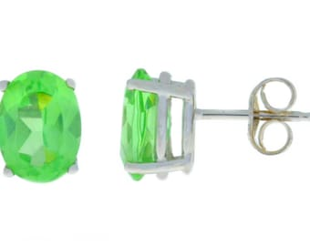 Green Sapphire Oval Stud Earrings .925 Sterling Silver Rhodium Finish