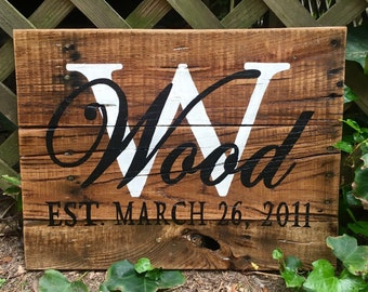 Wood Sign, Reclaimed Wood Sign, Stained and Personalized Last Name/Established Sign