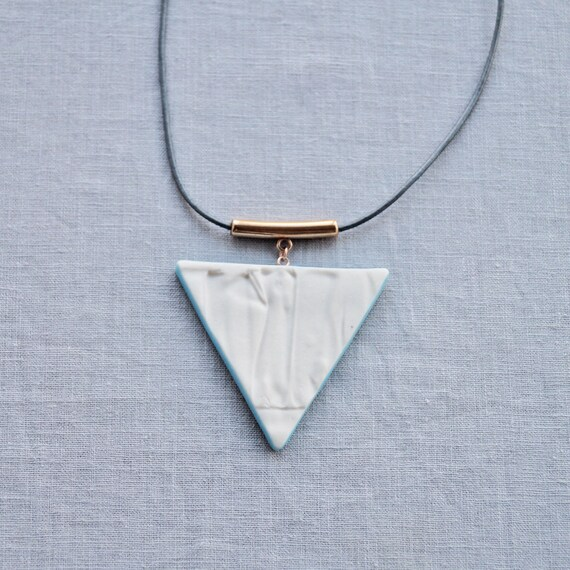 RUCHED No17 geometric triangle necklace