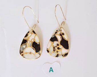 Petite porcelain dangles in black white and gold