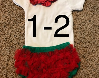 Size 1-2 ruffle bloomer and flower headband with personalized shirt