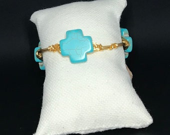 Mayan db couture turquoise cross bangle