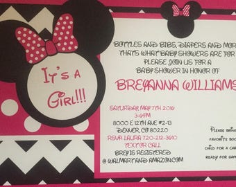 Minnie Mouse Baby Shower Invites