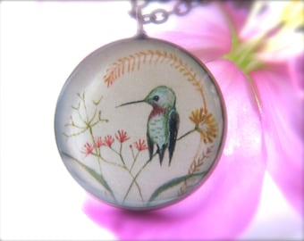 Hummingbird in Wildflowers Necklace