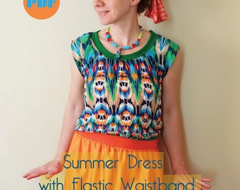 Summer Dress With Elastic Waistband Tutorial Instant Download PDF