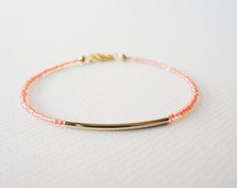 Gold bar bracelet - Coral